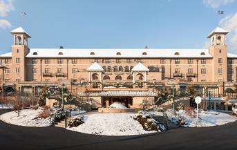 The Hotel Hershey covered in snow